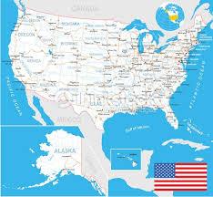 united states map flag navigation labels roads illustration vector Map Of Us With Labels united states (usa) map, flag, navigation labels, roads illustration map of usa with labels