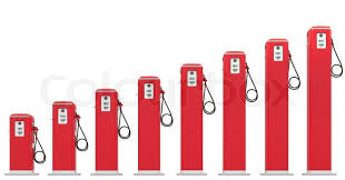 Fuel Prices Red Petrol Pumps Chart Stock Image