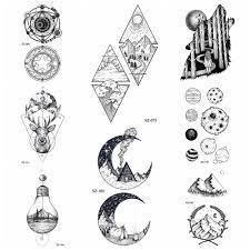 Falešné Dlouhotrvající černé Tetování Geometrické Hill Dočasné
