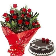 Buy Natural Red Roses N Chocolate Cake Flower Gift 189 Online Best
