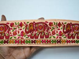 Orange Elephant Embroidery Designs Online Shop Of Embroidered Trims And Ribbon For Wedding Wear