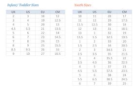 Reebok Shoe Size Chart For Kids Reebok Sizing Chart Shoes Tecniasteel Com