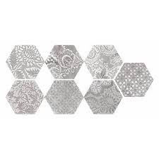 12 X 12 Decorative Tiles Faber Moroccan 100in x 100in Decorative Silver Hexagon Porcelain 42