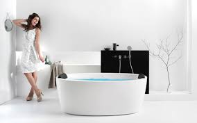 aquatica purescape 174a wht relax air massage bathtub with girl 02 web