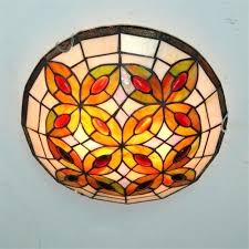 vintage gvine stained glass ceiling light olive fixture fixtures