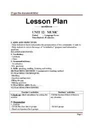 Elementry Lesson Plans Lesson Plan Unit 12 Grade 10 Esl Worksheet By Videthuongqn