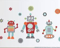 robot wall decal for boys retro robot room decor reusable robot fabric wall decals nursery wall art on robot nursery wall art with robot nursery decor etsy