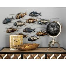 chic and creative fish wall decor small home inspiration iron blue brown silver tuna 53350 the depot for bathroom nursery canada uk