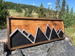 mountain wall art wooden mountain peaks