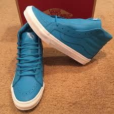 vans mens 8 womens 9 5 sk8 hi slim neon leather blue high top shoes sneakers for