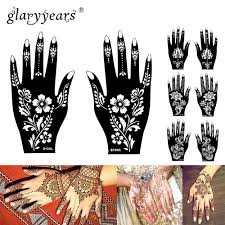 Airbrush Designs Us 1 99 15 Designs 1 Pair Hands Mehndi Henna Stencil Flower Lace Tattoo Airbrush Painting For Women Hands Art Tattoo Stencils Waterproof In Tattoo