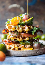 Cheddar Cornbread Waffle Blt With Chipotle Butter Video Half