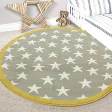 soft nursery rugs kids yellow ochre grey circle stars rugs boy girls soft baby nursery bedroom