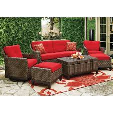 Furniture Ideas Red Cushion Wicker Patio Furniture With