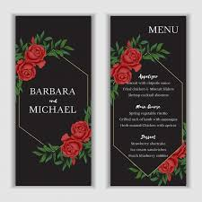 Red Rose Floral Menu Card Template For Wedding And Party