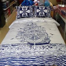boys navy blue and white nautical themed sailboat print reversible 100 organic cotton twin full queen size bedding sets