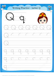 Writing Practice Worksheet Letter Q Is For Queen Handwriting Practice Worksheet Free