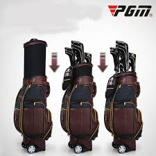 pgm all leather golf retractable bag large capacity portable men s bag multifunctional checking air