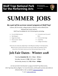 Summer Seasonal Jobs Great Falls Citizens Association Wolf Trap Hiring For Summer Season