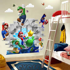 Mario Bros Bedroom Decor 2015 Retail New Cartoon Children Games Super Mario 3d Art Wall