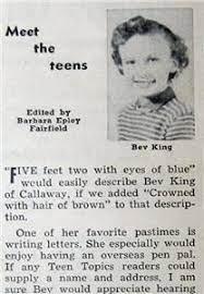Original 1956 Teen Topics Article Features Bev King of Callaway, Nebraska    eBay