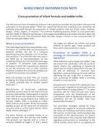 Https Www Who Int Docs Default Source Nutritionlibrary Breastfeeding Information Note Cross Promotion Infant Formula Pdf Sfvrsn 81a5b79c 1