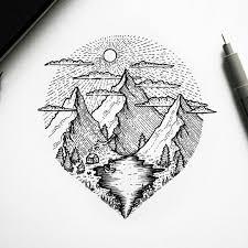 Blackwork Mountains Landscape Circle Tattoo The Sketch идеи для
