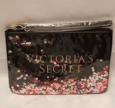 victoria s secret confetti sequin makeup cosmetic bag pouch bling accessory new