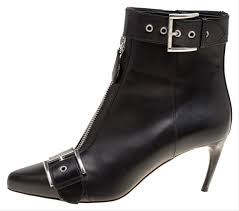 alexander mcqueen black leather double buckle pointed toe ankle boots booties