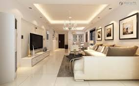 Living Room. Modern False Ceiling With Cove Lights Feature. Impressive  Design Of Living Room