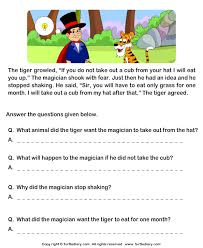 comprehension tiger and magician and answer the questions  reading comprehension stories