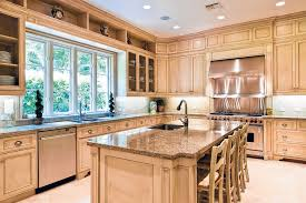 modern kitchen with light wood schuler cabinets mahogany