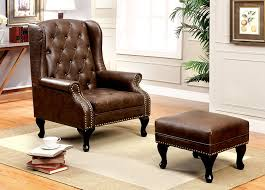 com furniture of america elmas traditional leatherette wingback chair rustic brown kitchen dining