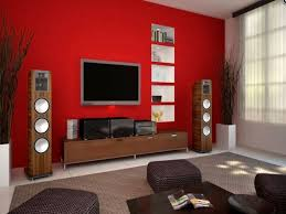 Red Wallpaper Designs For Living Room Rectangle Wooden Varnished Coffee Table Grey Fabric Sectional