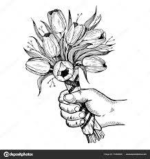 ベクター イラストを彫刻の花を持つ手 ストックベクター