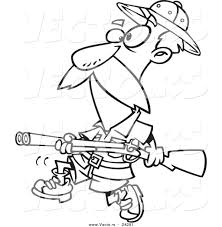Small Picture Vector of a Cartoon Big Game Hunter with a Rifle Black and White