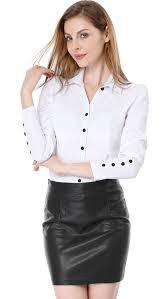 unique bargains women s business top ruched on decor cuffs shirt blouse tunic white m us 10 com