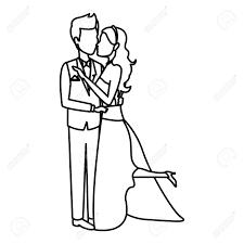 Romantic Couple Wedding Woman And Man Kissing Vector Illustration