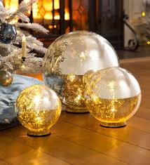Mercury Glass Globes With Lights Lighted Mercury Glass Globes Set Of 3 Plowhearth