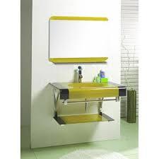 rahil glass yellow designer bathroom vanity sinks set