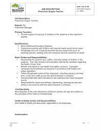 Description Teacher Resumeten Job Elementary School Example