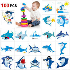 Shark Temporary Tattoos100pcskonsait Shark Tattoo Body Stickers Costume Accessories For Ocean Sea