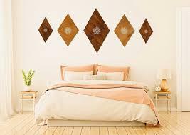 above bed artwork wooden mandala wall