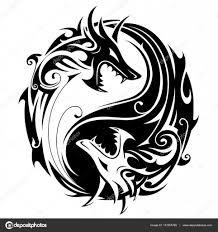 татуировки дракон и инь ян Yin Yang Dragons векторное изображение