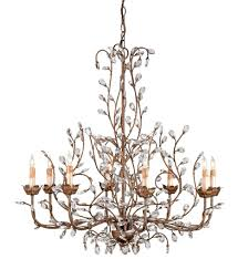 currey company 9884 crystal bud 8 light chandelier with cupertino finish undefined