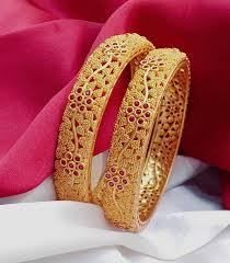 Gold Bangles Designs With Price In Rupees Joyalukkas Beautiful Gold Matt Finish Bangles With Floret Lata Design