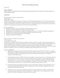 Example Of Job Objectives On A Resume