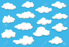 Clouds Design White Fluffy Clouds On Spring Blue Sky In Cartoon Style For