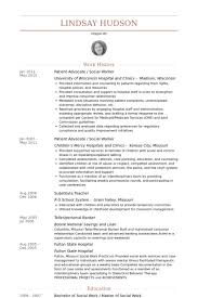 Patient Advocate / Social Worker Resume samples