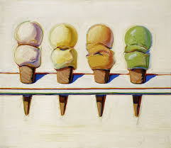 four ice cream cones by wayne thiebaud